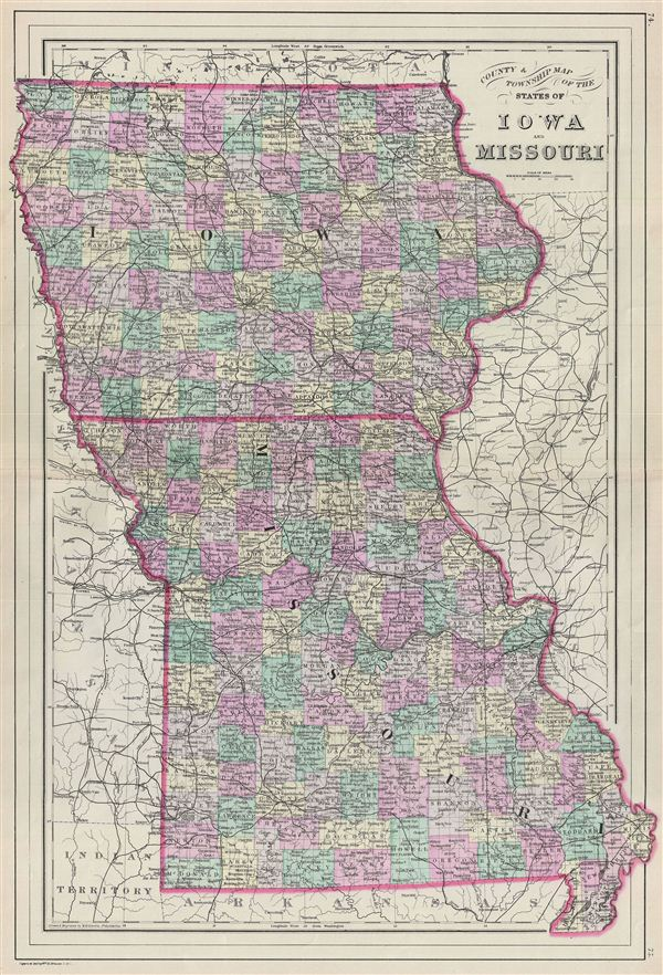 County amp Township Map of the States of Iowa and Missouri