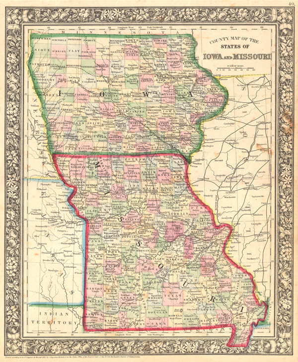County Map of the States of Iowa and Missouri