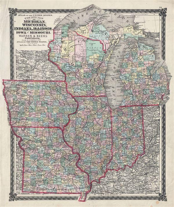 County Map of Michigan Wisconsin Indiana Illinois Iowa