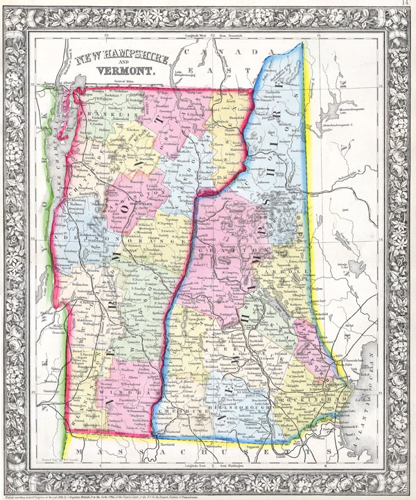 Vermont and New Hampshire Geographicus Rare Antique Maps