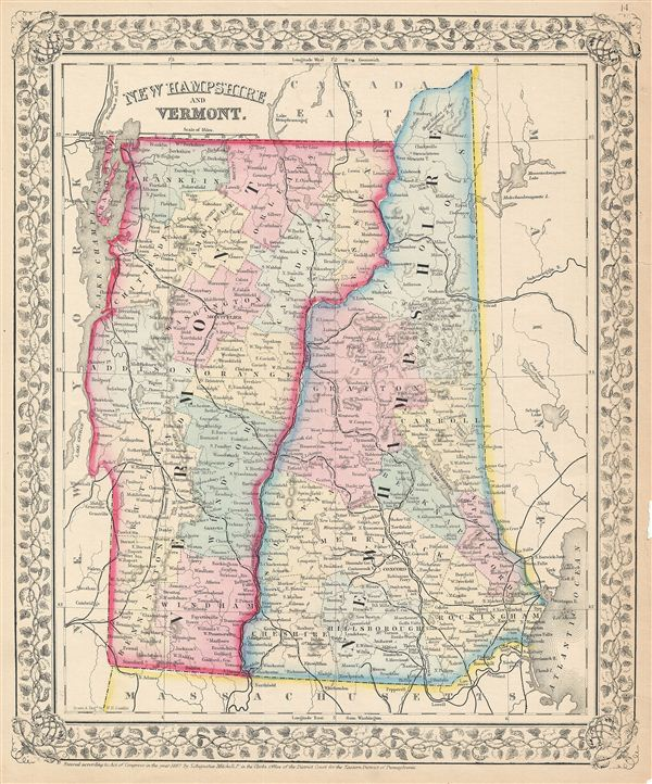 New Hampshire and Vermont Geographicus Rare Antique Maps