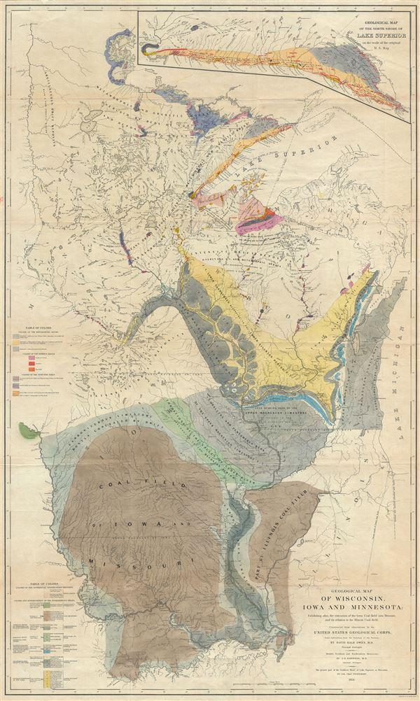 Geological Map of Wisconsin Iowa and Minnesota