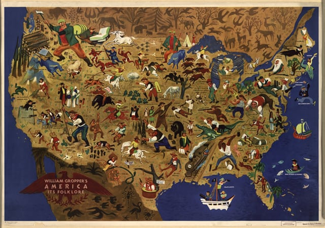 Map of American Folklore by William Gropper, 1946. Source: Library of Congress. Click on map for larger version.