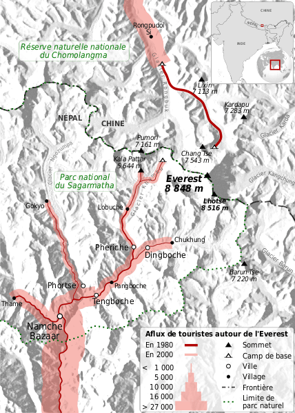Flow map of the increased number of tourists around Mount Everest between 1980 and 2000.