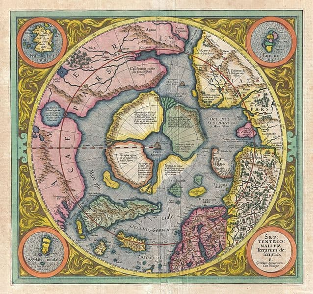 "Mercator's 1606 map of the North Pole. Mercator believed the North Pole to be a large magnetic black rock, the Rupes Nigra. Mercator wrote to Englishman John Dee, ""In the midst of the four countries is a Whirl-pool, into which there empty these four indrawing Seas which divide the North. And the water rushes round and descends into the Earth just as if one were pouring it through a filter funnel. It is four degrees wide on every side of the Pole, that is to say eight degrees altogether. Except that right under the Pole there lies a bare Rock in the midst of the Sea. Its circumference is almost 33 French miles, and it is all of magnetic Stone."""