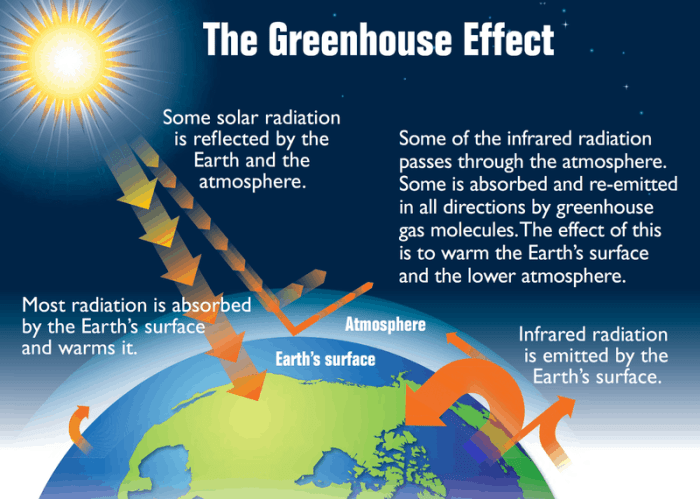 """This diagram shows the Earth's """"greenhouse effect."""" The Earth absorbs some of the energy it receives from the sun and radiates the rest back toward space. However, certain gases in the atmosphere, called greenhouse gases, absorb some of the energy radiated from the Earth and trap it in the atmosphere. These gases essentially act as a blanket, making the Earth's surface warmer than it otherwise would be. While this greenhouse effect occurs naturally, making life as we know it possible, human activities in the past century have substantially increased the amount of greenhouse gases in the atmosphere, causing the atmosphere to trap more heat and leading to changes in the Earth's climate. Source: EPA."""