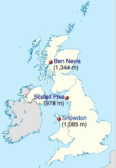 Location of the three mountains that make up the Three Peaks Challenge.