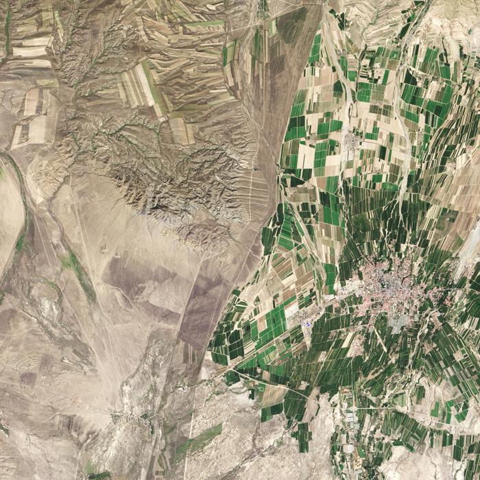 The border between northwestern China around the city of Qoqek and far eastern Kazakhstan near Lake Balqash.