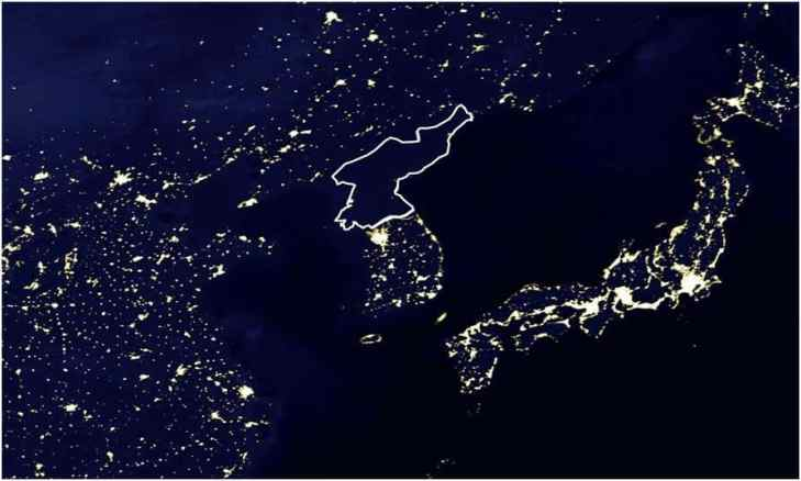 North Korea at night in the mid 1990s.