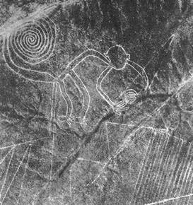 Nazca Monkey geoglyph from an aerial taken by Maria Reiche, one of the first archaeologists to study the lines, in 1953.