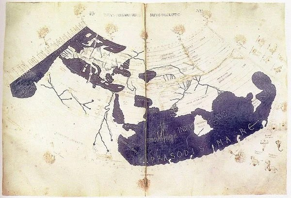 Ptolemy's World Map from Geographia (~150 CE), reproduced in the 15th Century.