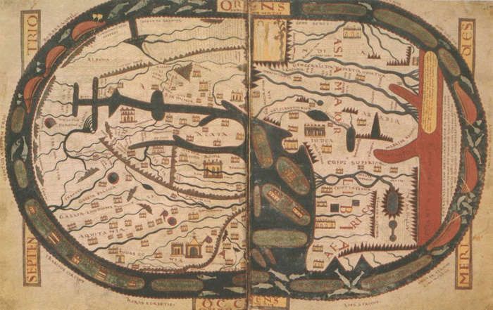 A copy of the Beatus Map which is preserved in Saint-Sever abbey, France.