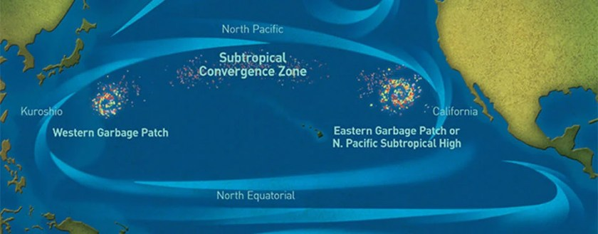 Concentrations of marine debris known as the Ocean Garbage Patch in the North Pacific Ocean. Map: NOAA.
