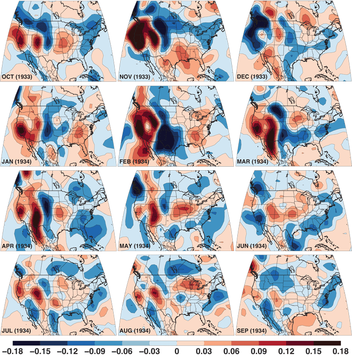 Monthly 700 hPa vertical velocity anomalies (Pa/s) from October of 1933 through March of 1934, calculated from the 20th Century Reanalysis. All anomalies are calculated relative to the baseline period of 1931–1990.