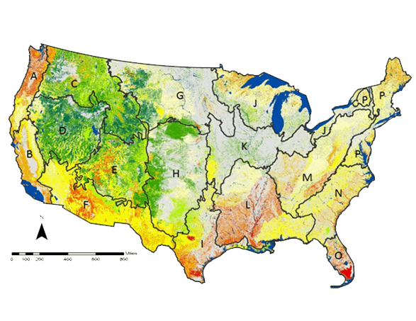 GAP ecological gap analysis map.  Map: USGS.
