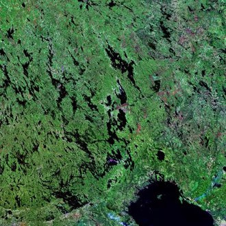 Landsat image of the southern portion of Finland showing the numerous lakes that dot the landscape.