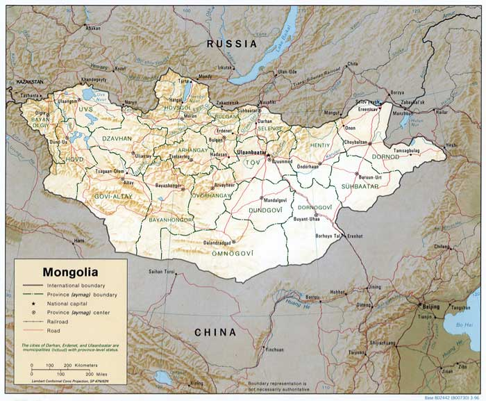 Map of Mongolia. Source: CIA, 1996.
