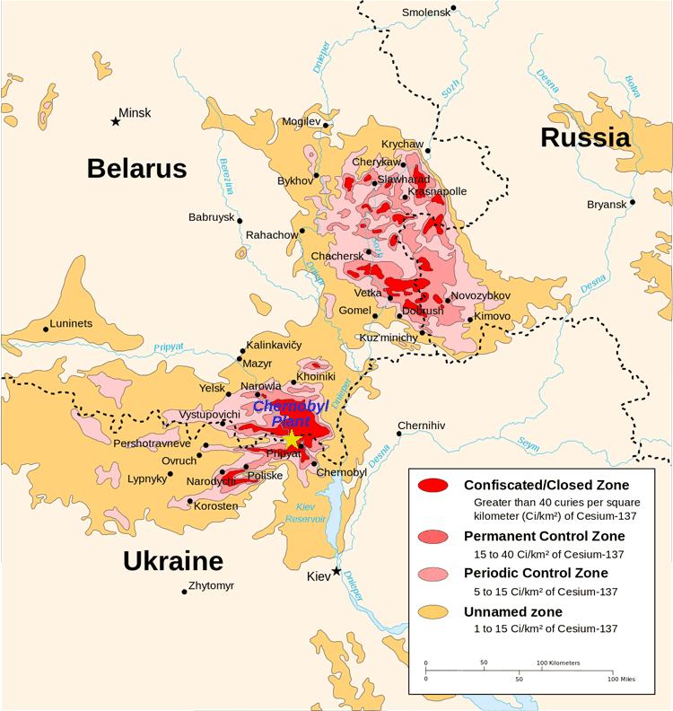 Chernobyl radiation map, Source: CIA handbook. 1996.