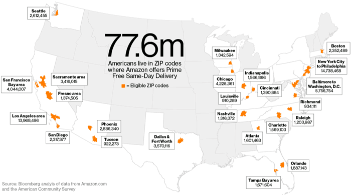 Bloomberg's analysis of the population by ZIP Code in the US that can get Amazon's same-day delivery.