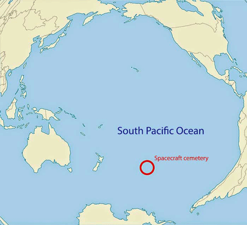 Map showing the location of the spacecraft cemetery. Source: NASA.