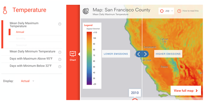 Climate Explorer lets users adjust map settings to see predicted temperature changes.