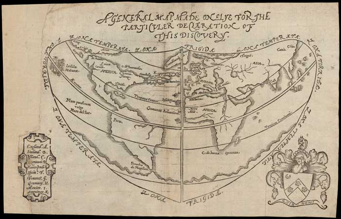 Sir Humphrey Gilbert, A General Map, Made Onelye for the Particuler Declaration of this Discovery (1576). Map image from Osher Collection
