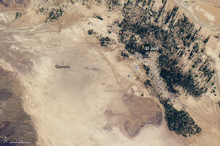 Landsat imagery captured July 2, 2016 shows qanats crossing the desert in southeastern Morocco. Source: NASA.