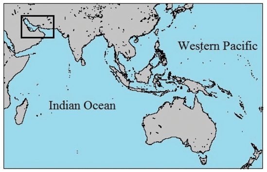 Study areas in the Persian Gulf and Gulf of Oman in the Indo-West Pacific. Map: Rezaie-Atagholipour et al., 2016.