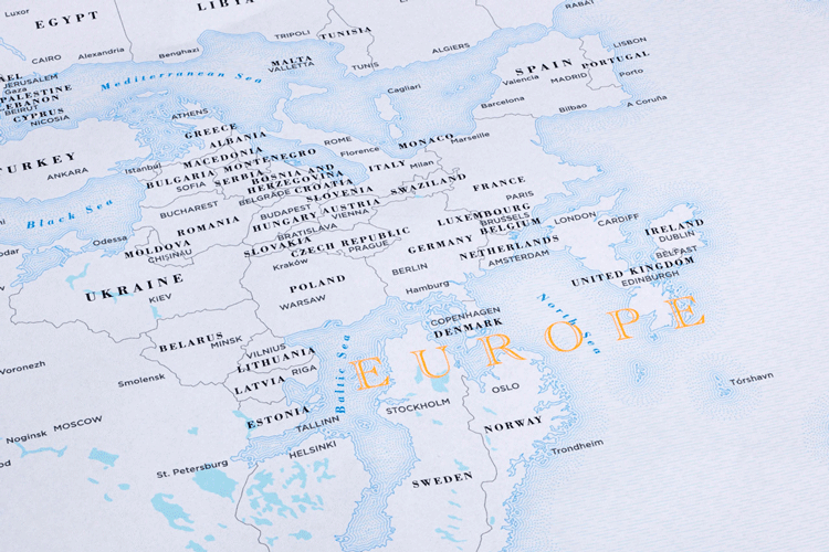 A zoomed in look at Europe from the upside down map by Hyland, 2015. Image: Pentagram.