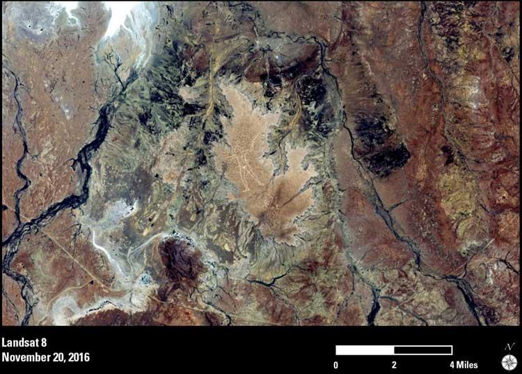 The Marree Man geoglyph in Australia. Image: Landsat 8, November 2016. Source: NASA