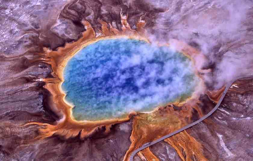 Aerial view of Grand Prismatic Spring; Hot Springs, Midway & Lower Geyser Basin, Yellowstone National Park. Photo: Jim Peaco, National Park Service