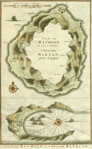 Isle de Machian, toute remplie de Montagnes./Isle de Bachian, 1750.