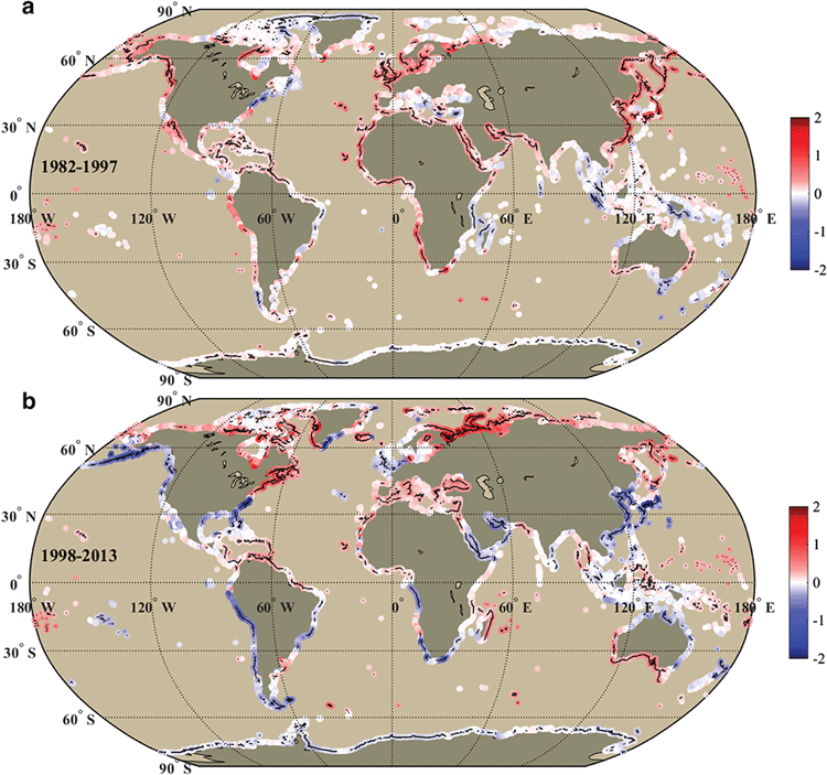 Maps showingThe linear SST trends (unit: °C/decade) along the world's coastlines in the warming (1982–1997 and hiatus periods (1998–2013). Maps: Yan et. al, 2016.