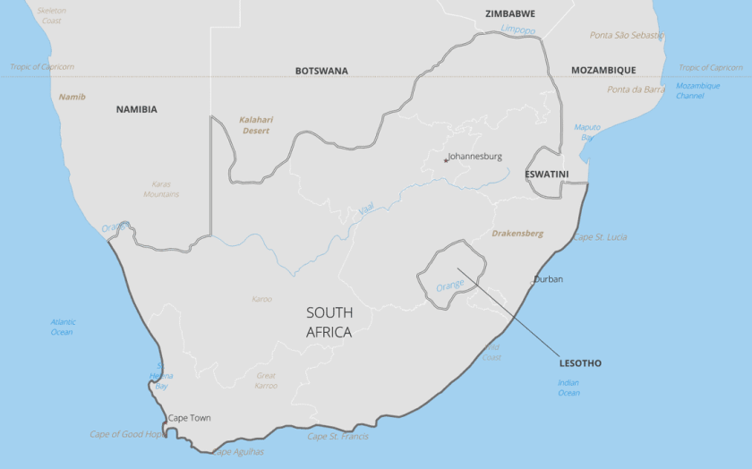 Lesotho is completely surrounded by the country of South Africa.  Map created with Natural Earth data.