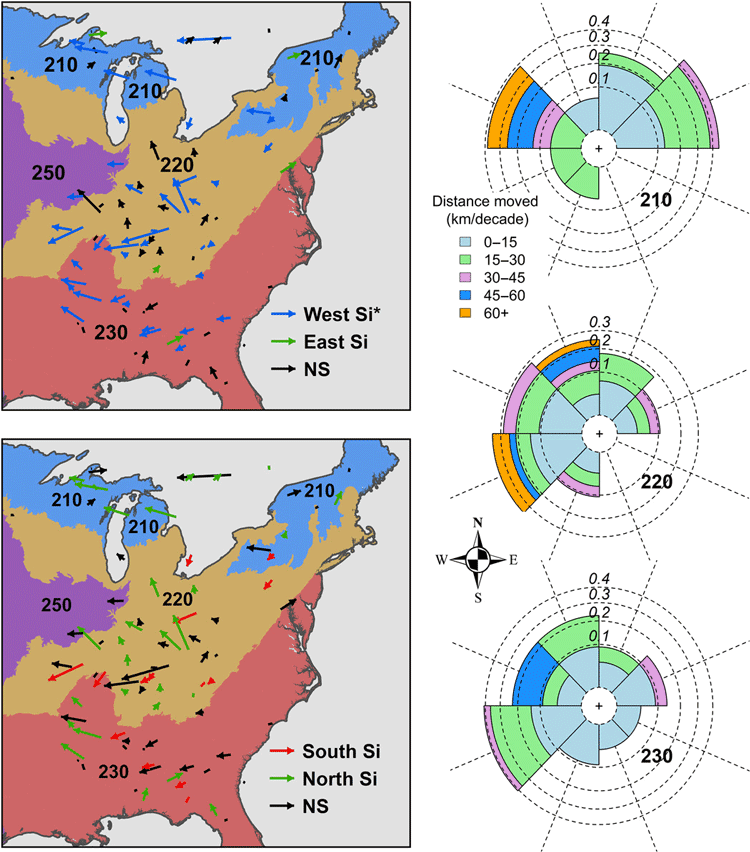 Shift of species mean abundance center by ecoprovinces in the eastern United States during the last three decades.