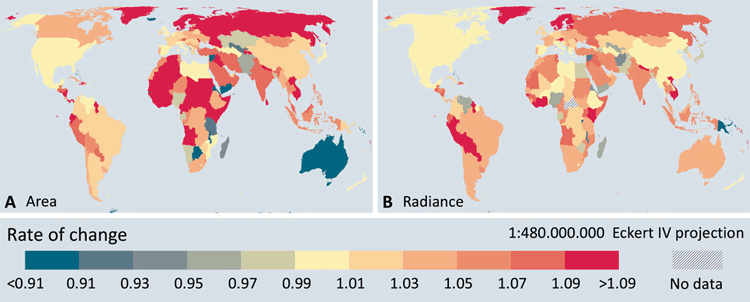 Geographic patterns in changes in artificial lighting.