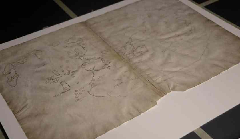 The authenticity of the Vinland Map as a 15th-century world map has long been debated among scholars and is widely believed to be a 20th century forgery. (Photo credit: Jon Atherton, Yale University)