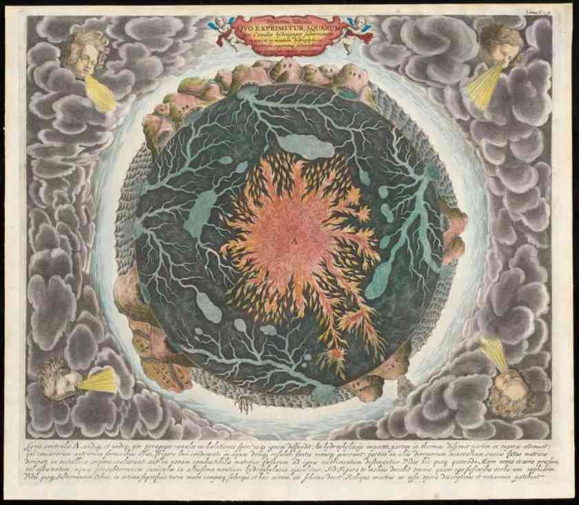 "Athanasius Kircher's ""Mundus Subterraneus,"" c. 1665, Boston Public Library's Norman B. Leventhal Map Center."