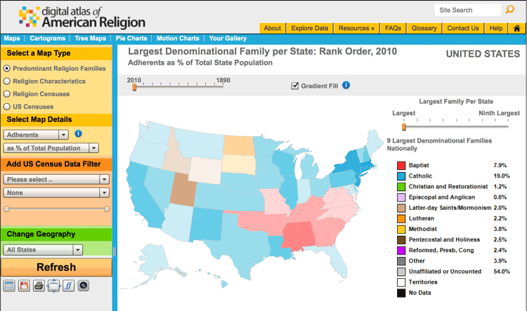 One tool used to map religions in the United States is the Digital Atlas of American Religion.