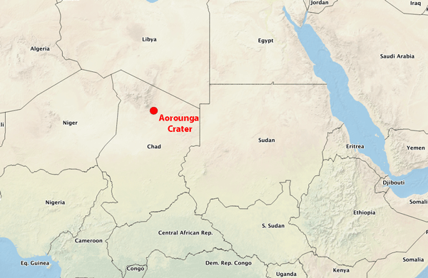 Map showing the relative location of the Aorounga Crater in northern Chad. Map produced by GeoLounge from Natural Earth data.