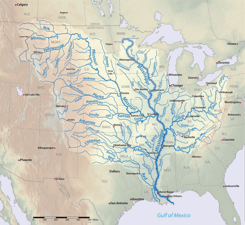 Detailed map of the Mississippi Watershed. Map: Shannon1, CC BY-SA 4.0 with data from USGS