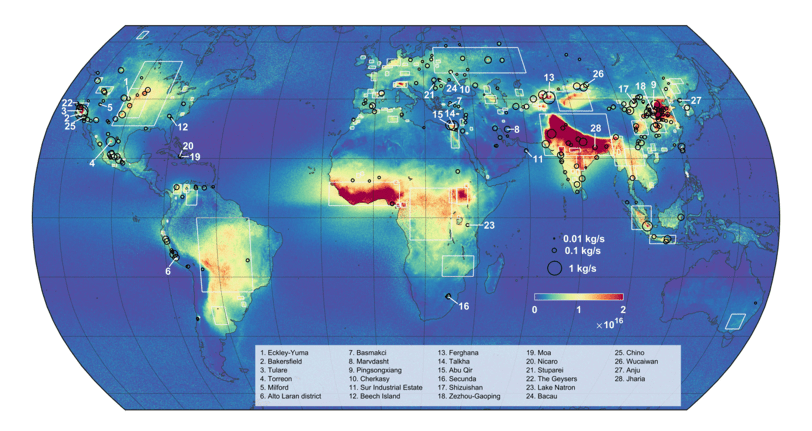 Map showing global ammonia source areas and hotspot locations. Map: Van Damme et al., 2018