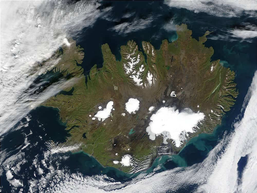 Iceland's land mass is sparsely populated by trees. Image: NASA, public domain.
