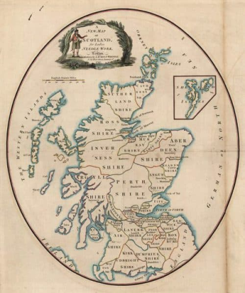 "Robert Laurie and James Whittle's paper template, ""A new map of Scotland for ladies needlework"". 1797. NLS shelfmark: EMS.s.699"