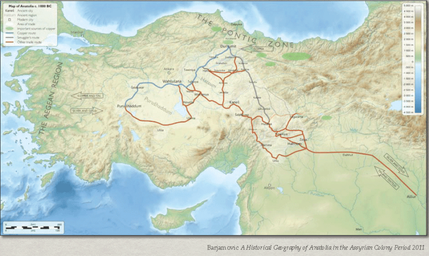Map of ancient trade routes. Source: Barjamovic et al., 2017.