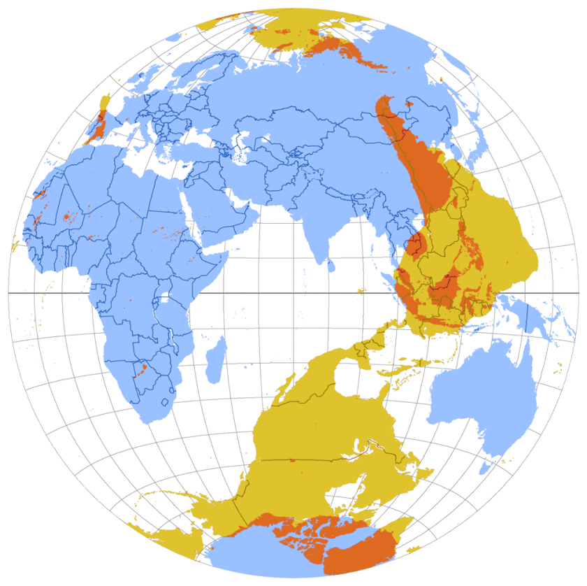 Map of antipodes of the Earth, in Lambert Azimuthal Equal-Area projection. Map: Citynoise, Mediawiki commons, CC BY 2.0