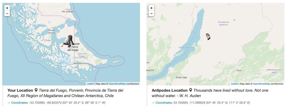 Screenshot: Antipodes Map