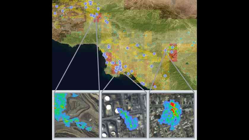 Researchers from NASA's Jet Propulsion Laboratory (JPL) mapped out sources of methane emission across California. Source: NASA/JPL