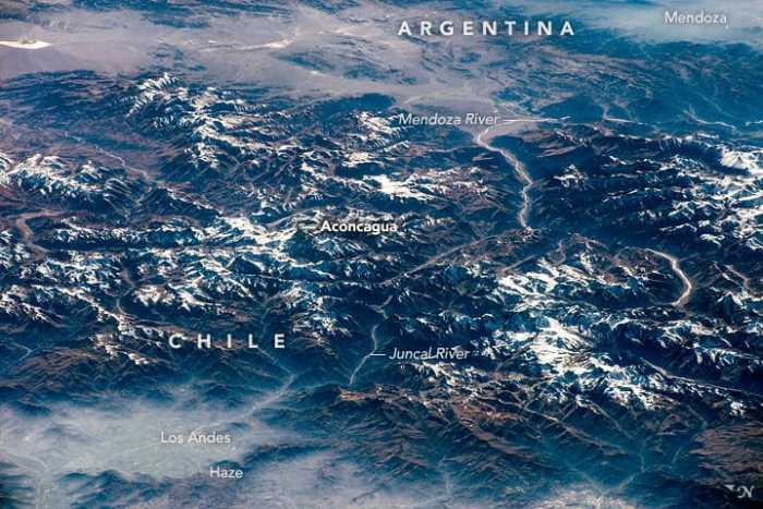 Aconcagua is the highest mountain in the Western Hemisphere.  Photo taken from the International Space Station, April 2015.  Image: NASA, public domain.