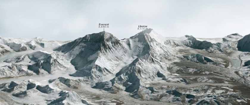 3D rendering of Mount Everest from LANDSAT and ASTER GDEM2 data.  Image: NASA, public domain.